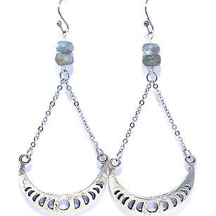 Labradorite Moon Phase Dangle Earrings
