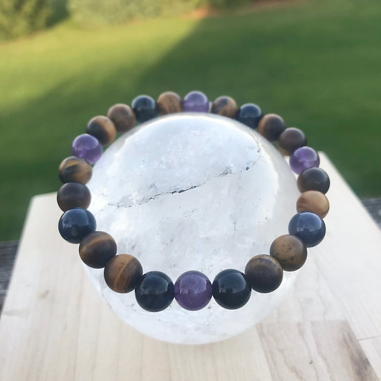 Dumortierite, Amethyst and Matte Tigers Eye Men's Bracelet