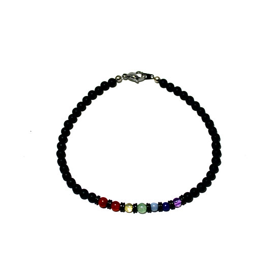 7 Chakras Anklet with Coconut Wood and Onyx