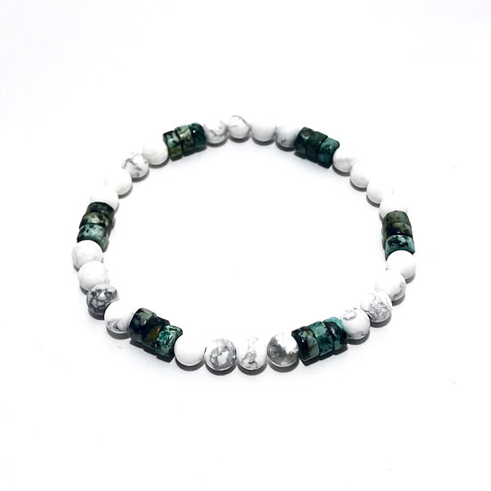African Turquoise and Howlite Bracelet