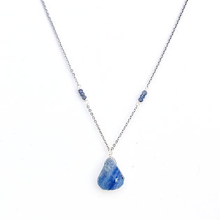 Faceted Iolite Necklace with Rough Kyanite Pendant