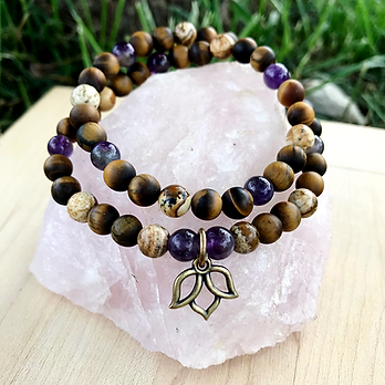 Amethyst, Matte Tigers Eye & Picture Jasper with Lotus Charm Double Wrap