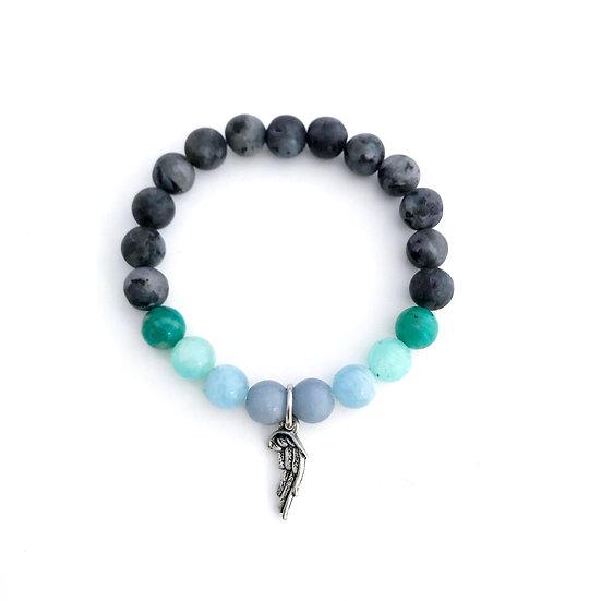 Angelite, Aquamarine, Amazonite and Norwegian Moonstone Bracelet with Angel Wing