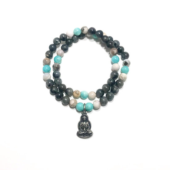 Amazonite, Smoky Dendritic Agate and Norwegian Moonstone with Buddha Charm