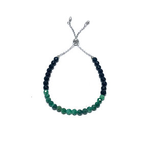 Green Tourmaline and Black Onyx Adjustable Mini Gemstone Bracelet