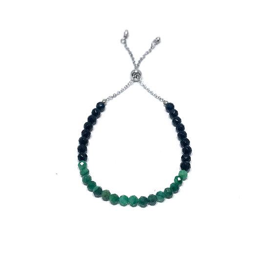 Green Tourmaline and Black Onyx Adjustable Mini Gemstone Bracelet