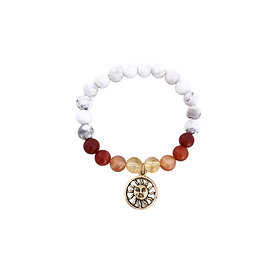 Citrine, Carnelian, Red Coral and Howlite Bracelet with Sun Charm