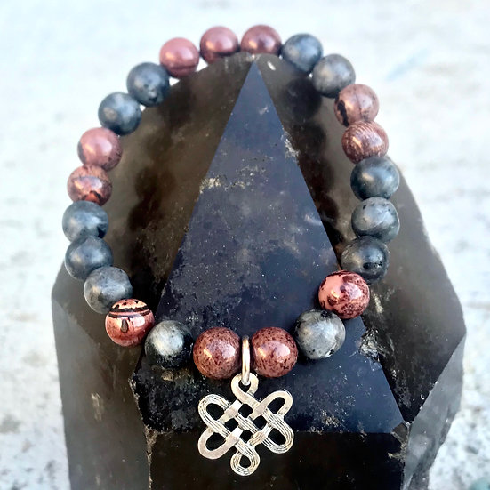 Chohua Jasper and Matte Norwegian Moonstone Bracelet with Endless Knot Charm