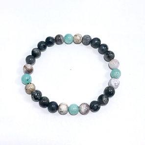 Amazonite, Smoky Dendritic Agate and Norwegian Moonstone Bracelet