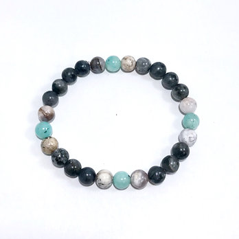 Amazonite, Smoky Dendritic Agate and Norwegian Moonstone Bracelet