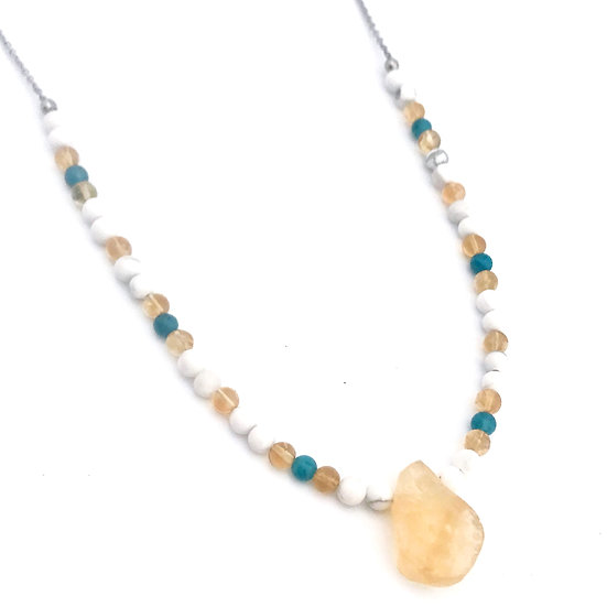 Citrine, Apatite and Howlite Beaded Necklace with Rough Citrine Pendant