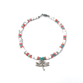 Amazonite, Pink Coral and Howlite Anklet with Dragonfly Charm