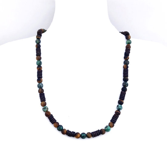 African Turquoise, Tigers Eye and Coconut Wood Men's Necklace