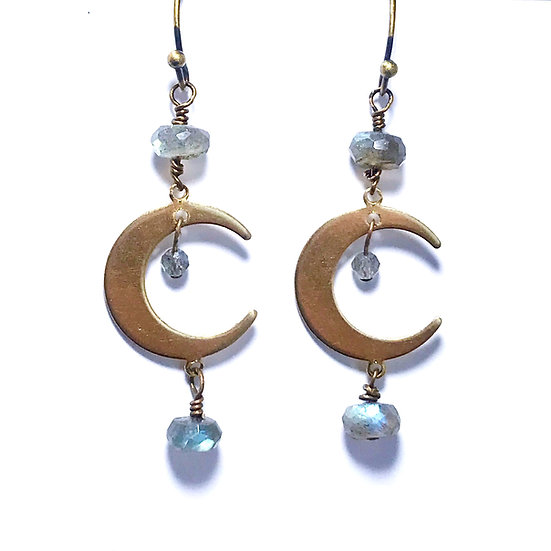 Labradorite Crescent Moon Earrings