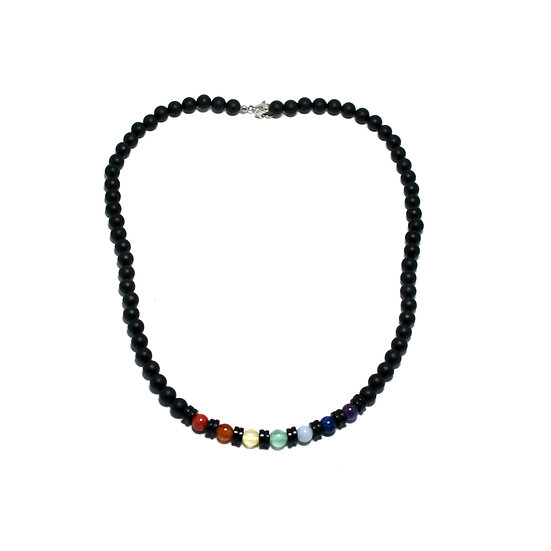 7 Chakra Necklace with Coconut Wood and Black Onyx