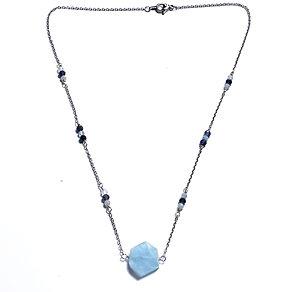 Iolite and Aquamarine Necklace with Hexagon Aquamarine Pendant