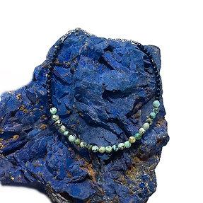 African Turquoise and Black Tourmaline Adjustable Mini Gemstone Bracelet