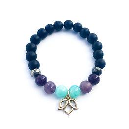 Amazonite, Lepidolite, Pyrite and Onyx Bracelet with Lotus Charm