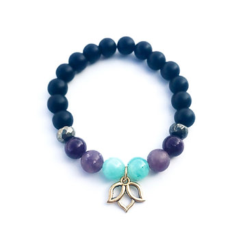 Amazonite, Lepidolite, Pyrite and Onyx Bracelet with Lotus Charm
