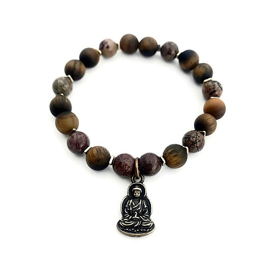 Chohua Jasper, Matte Tigers Eye and Hematite Bracelet with Buddha Charm