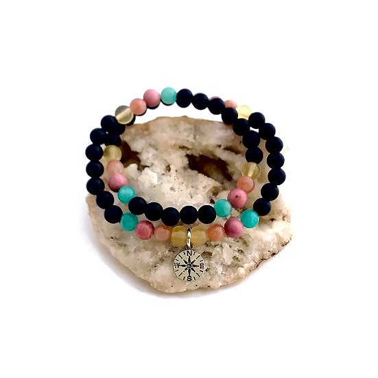 Yellow Fluorite, Peach Moonstone, Rhodonite, Amazonite and Onyx Bracelet