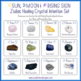 Sun, Moon and Rising Sign Zodiac Healing Crystal Intention Set