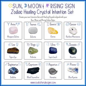 Sun, Moon and Rising Sign Zodiac Healing Crystal Intention Set