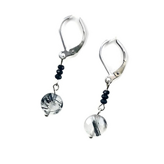 Tourmalinated Quartz and Black Spinel Leverback Earrings