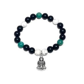 Russian Amazonite, Black Onyx and Howlite Bracelet with Buddha Charm