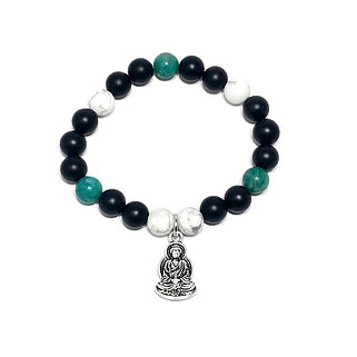 Russian Amazonite, Black Onyx and Howlite Bracelet with Buddha Charm