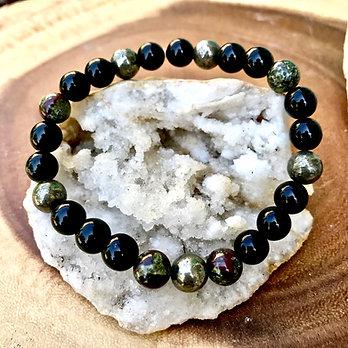 Obsidian, Pyrite and Dragons Blood Jasper Bracelet
