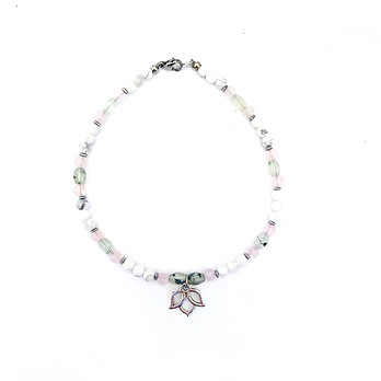 Prehnite, Rose Quartz, Howlite and Hematite Anklet with Lotus Charm
