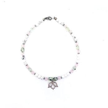 Prehnite, Rose Quartz, Howlite and Hematite Anklet with Lotus Charm