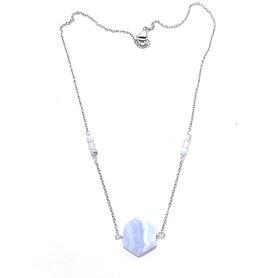 Blue Lace Agate and Rose Quartz Necklace with Blue Lace Agate Pendant
