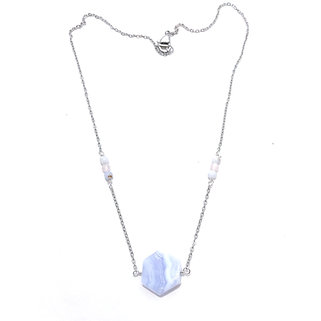Blue Lace Agate and Rose Quartz Necklace with Blue Lace Agate Pendant