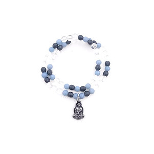 Quartz, Angelite and Hematite Double Wrap Bracelet with Buddha Charm