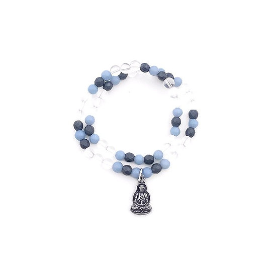 Quartz, Angelite and Hematite Double Wrap Bracelet with Buddha Charm