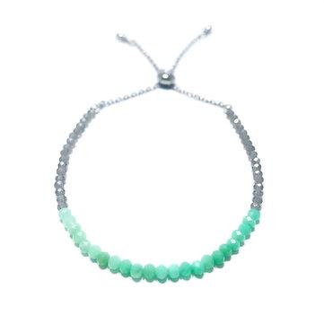 Chrysoprase and Gray Moonstone Adjustable Mini Gemstone Bracelet