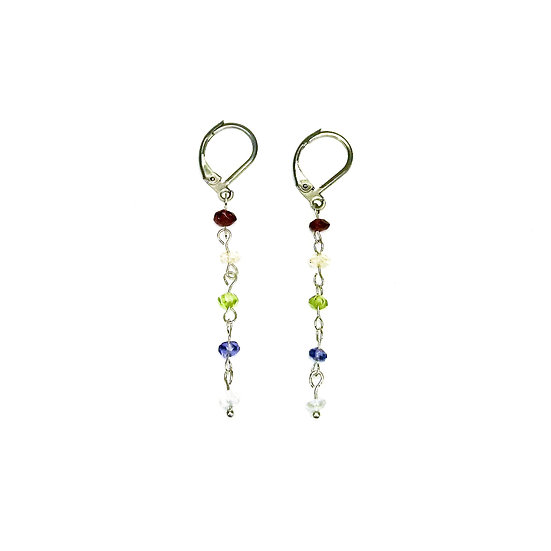 Garnet, Citrine, Peridot, Iolite and Quartz Earrings