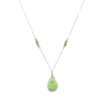 Faceted Peridot Necklace with Prehnite Pendant on Sterling Silver Chain