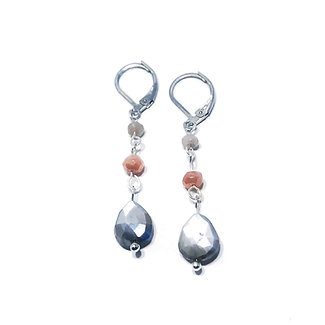 Faceted Multi-Colored Mystic Moonstone Earrings