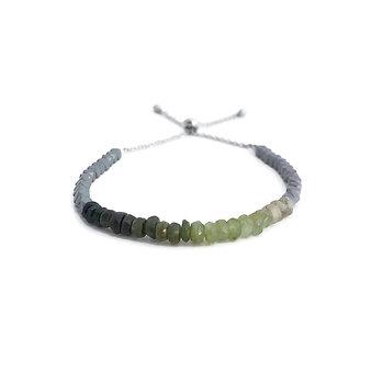 Green Tourmaline and Hematite Adjustable Mini Gemstone Bracelet