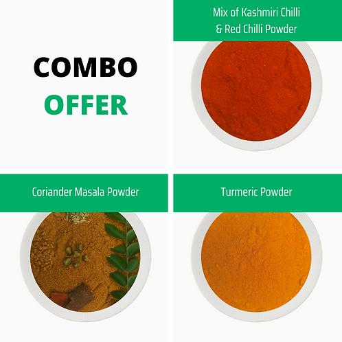 COMBO OFFER (Mix of Kashmiri & Red Chilli + Coriander Masala + Turmeric)