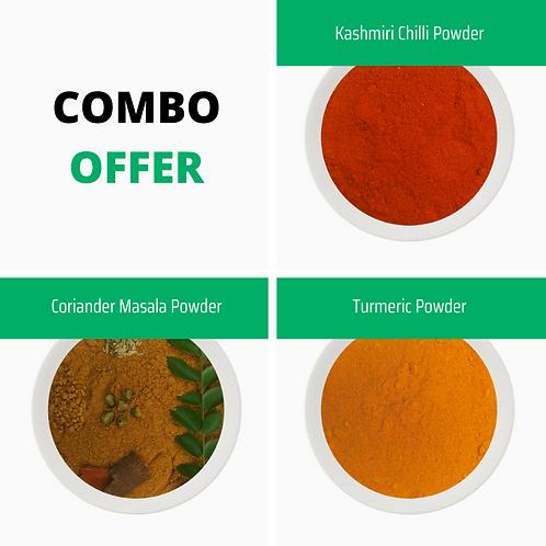COMBO OFFER (Kashmiri Chilli + Coriander Masala + Turmeric)