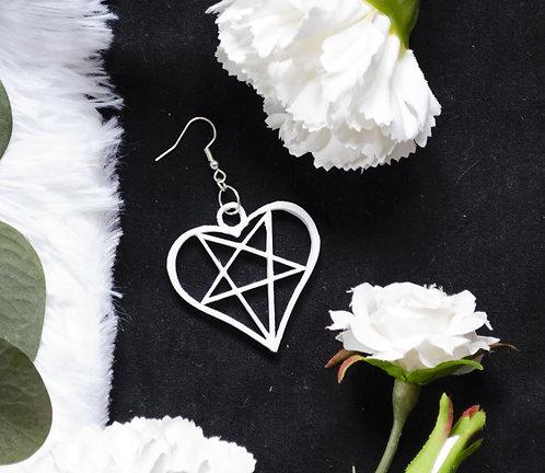 White Heartoagram earrings