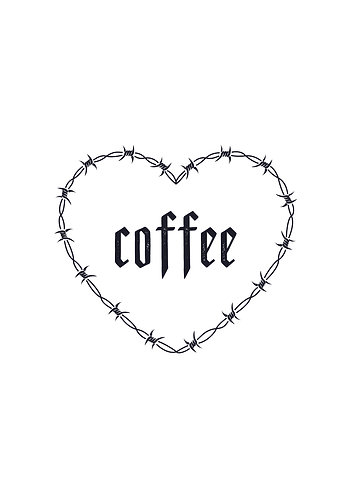 Coffee Barbwire Heart print