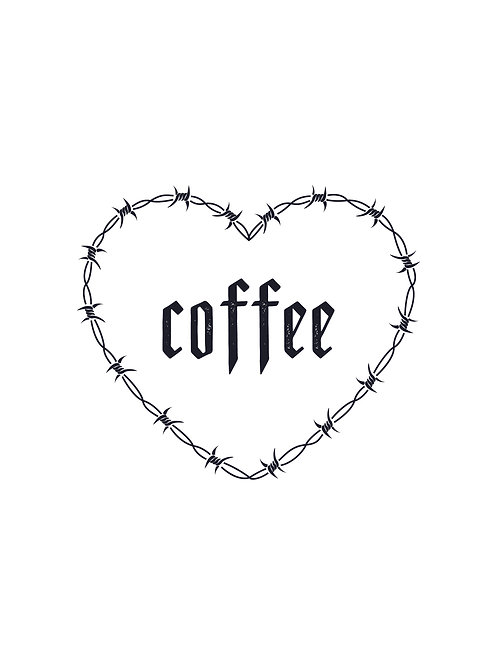 Coffee Barbwire Heart print