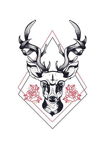 Satanic Deer print