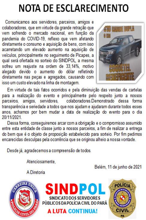 SORTEIO DO CARRO - NOTA DE ESCLARECIMENTO