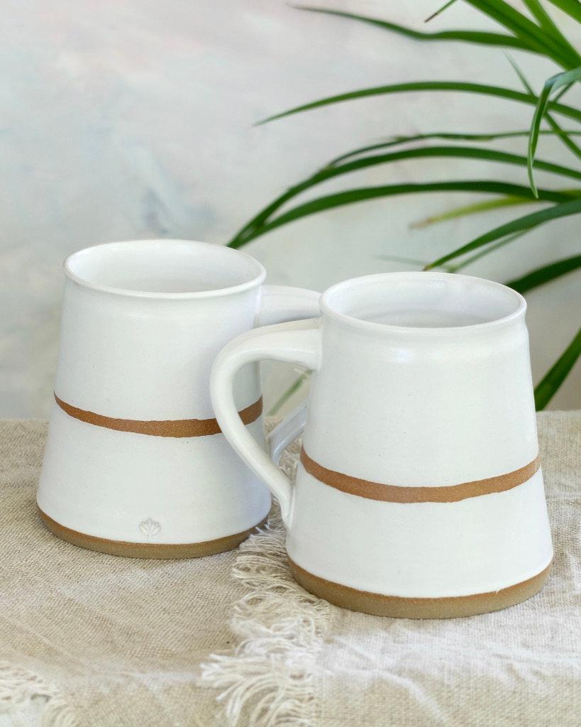Modern Raw Clay Mug White Lotus Pottery